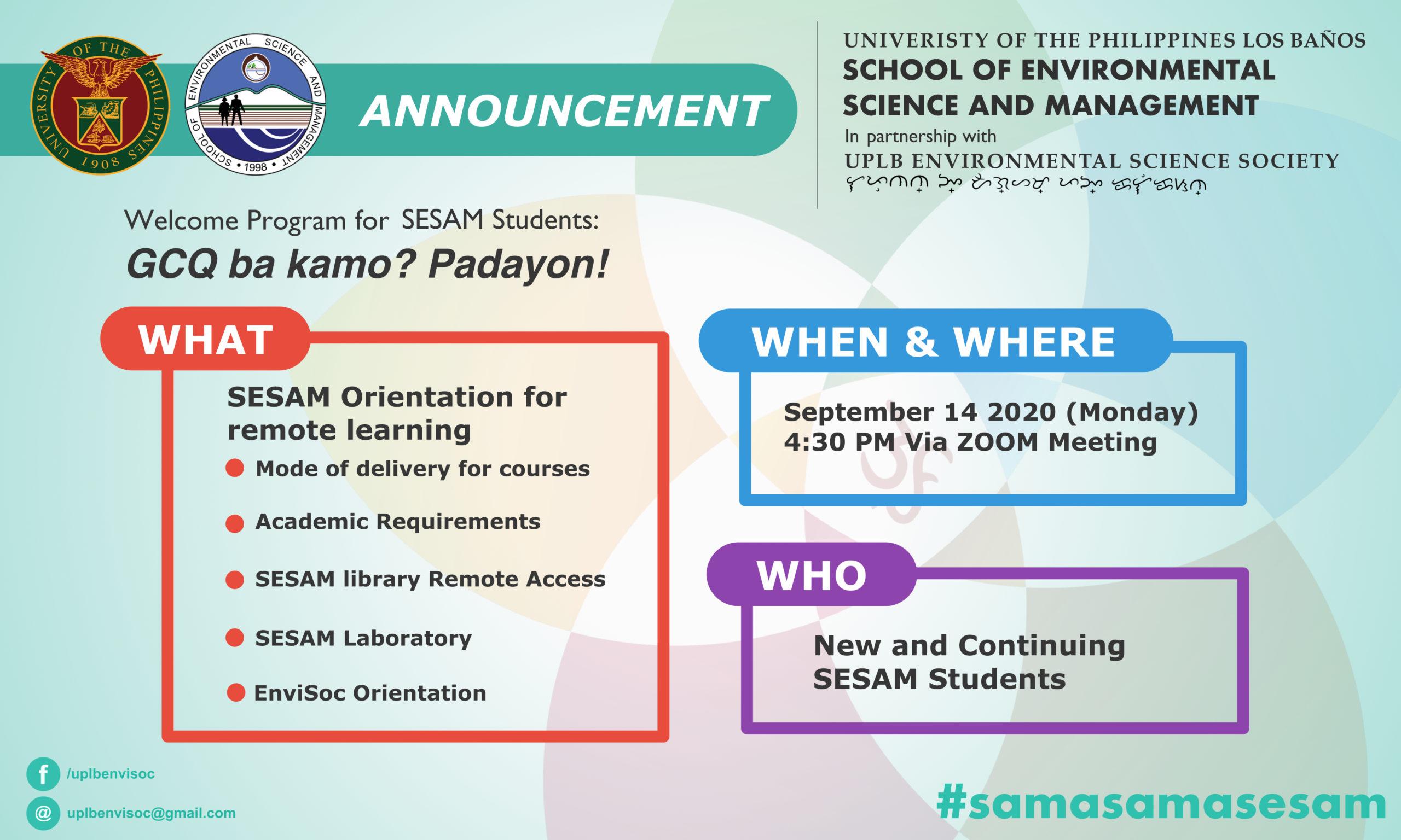 """""""Welcome Program for Students: GCQ ba kamo? Padayon!"""" Set on September 14, 2020"""
