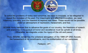 SESAM Statement on the Abrogation of the 1989 UP-DND Accord