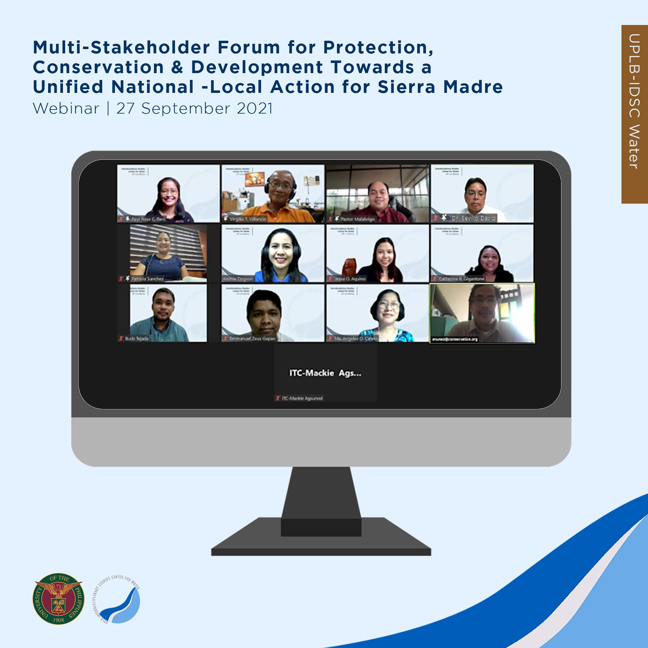 UPLB IDSC WATER celebrates Sierra Madre Day through a Webinar
